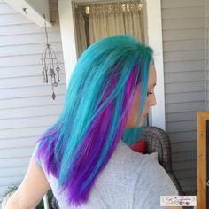 AHmazing #mermaidhair #tealhair #purplehair #crazyhair #haircut #womenscut by RStyles Frisco #frisco #plano #celina #mckinney #prosper