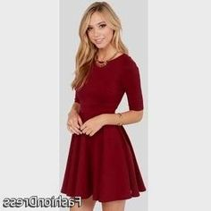 Nice red skater dress with sleeves 2017-2018