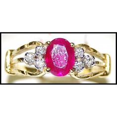 http://rubies.work/0390-sapphire-ring/ 18K Yellow Gold Solitaire Jewelry Ring Diamond Ruby by BKGjewels
