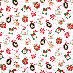 white #reindeer patchwork #Christmas fabric Peppermint Twist