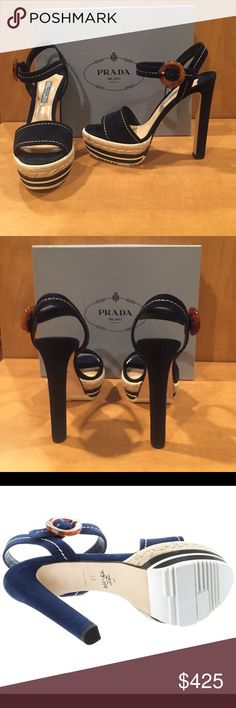 NWT Prada sandal. 2016 collection NWT Prada sandal, 2016 collection. Navy suede with beige stitching. Box and dust bag included. Gorgeous! 5.5 inch heel with 1.5 inch platform Prada Shoes Platforms