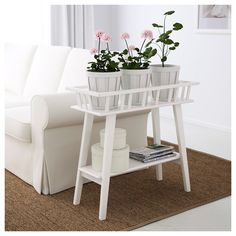 IKEA - LANTLIV, Plant stand, white, A plant stand makes it possible to decorate with plants everywhere in the home. For several plants in a row, which also makes it suitable to use as a room divider. Indoor Plant Shelves, Indoor Plants, Ikea Plants, Diy Plant Stand, Plant Stands, Ikea Shelves, Apartment Balconies, Flower Stands, Diner Decor