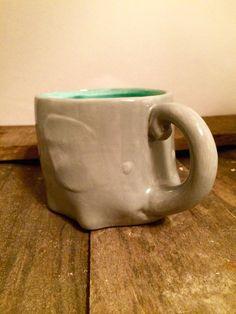 Elephant Mug Ceramic Cup Elephant Coffee Mug Gray Teal Elephant Cup Tea Cup Hand…