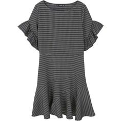 Ruffled Sleeve Dress (¥4,190) ❤ liked on Polyvore featuring dresses, sleeved dresses, frill sleeve dress, flare sleeve dress, ruffle sleeve dress and flouncy dress