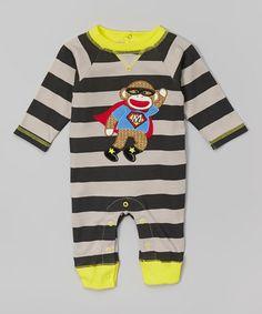 Another great find on #zulily! Black & Gray Stripe Superhero Playsuit - Infant by Sock Monkey #zulilyfinds