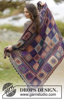 """Memories - Crochet DROPS blanket with granny squares, circle squares and borders with bobbles in """"Delight"""". - Free pattern by DROPS Design"""