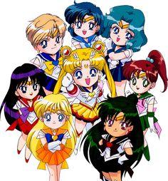 Sailor Venus, Sailor Mars, Sailor Moon, Sailor Uranus, Sailor Mercury, Sailor Neptune, Sailor Jupiter, Sailor Pluto, Inners, Outers, Chibis - PNG