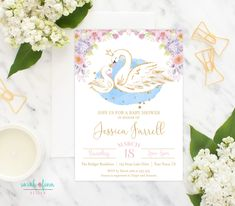 Swan Baby Shower Invitation, Swan Shower, Swan Party, Swan Princess Baby Girl Shower, Swan Invite, Printable, Floral, Pink Gold Glitter by SarahFinnDesign on Etsy