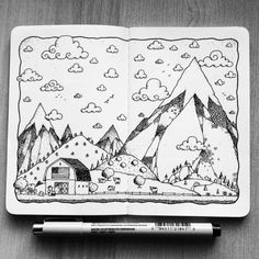 Sketchbook Project One on Behance Doodle Sketch, Doodle Drawings, Doodle Art, Sketchbook Project, Art Sketchbook, Ink Illustrations, Graphic Illustration, Line Doodles, Doodle Pages