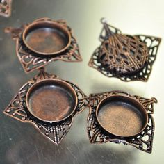 Metal Component - Lace Cloth Bezel - Antiqued Copper (1) [s33685] - $14.40 : BeadFX Online, Canada's Favourite Beading Experience