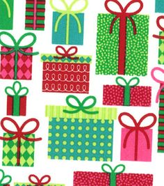Made In the USA Christmas Fabric-Whimsical Presents