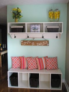 My Pinterest inspired mint & coral mudd room with a splash of yellow. It turned out just perfect ;)