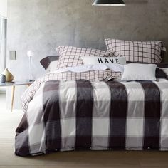 UFO Home 300 Thread Count 100% Yarn-dyed Cotton Flannel Gentle Mild Grey Coffee Square Plaid 2 Shams 4pc Duvet Cover Set Full/Queen Size -- Visit the image link more details. (This is an affiliate link) #HomeDecorInspiration