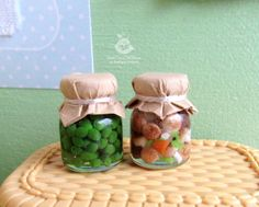 Miniature jars (Set 2 pieces) of preservation for dolls and doll houses. Scale 1:12 Will be a beautiful decoration puppet interior. The
