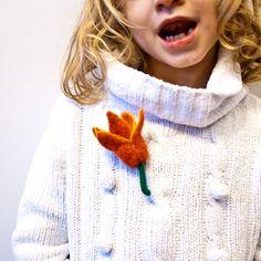 Tulip brooch Needle felted tulip Flower Brooch by CraftsByKeri, $15.00
