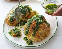 Italian Whole-Roasted Cauliflower with Parsley Sauce Recipe by Giada De Laurentiis @gdelaurentiis http://www.giadadelaurentiis.com/recipes/61/italian-whole-roasted-cauliflower-with-parsley-sauce