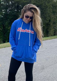 Wear your Kansas spirit on your sleeve in this Kansas Script Long Sleeve Hoodie! Rally House has a great selection of new and exclusive Kansas t-shirts, hats, gifts and apparel, in-store and online. Hooded Sweatshirts, Hoodies, Graphic Sweatshirt, T Shirt, Fashion Outfits, Womens Fashion, Kansas Jayhawks, Long Sleeve, Script