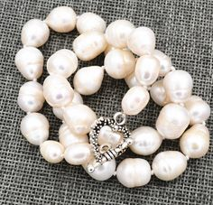 Pretty 14-16MM South Sea White Baroque Genuine Pearl Lady/'s Bracelet 7.5inch AA+