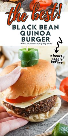 Here is a hearty veggie burger, loaded with soft quinoa, rich black beans, and the perfect spices. Top it with your favorite condiments and a bun for one delicious meal. Easy Vegan Dinner, Vegan Dinner Recipes, Vegan Dinners, Black Bean Quinoa Burger, Quinoa Burgers, Bhg Recipes, Loaded Sweet Potato, Vegan Comfort Food, Vegetarian Soup