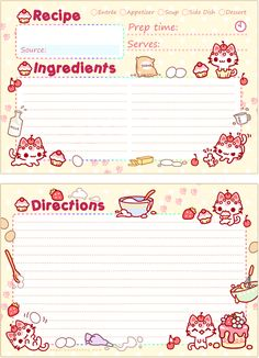 Cupcake Kitty Recipe Card