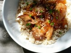 Gluten Free Dairy Free Honey Bourbon Chicken in the Slow Cooker | OAMC from Once A Month Mom