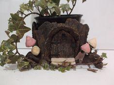 Terracotta Fairy Garden Pot,Fairy Door in a Tree Trunk Plant Pot, Handcrafted Pottery, Ceramic Planter