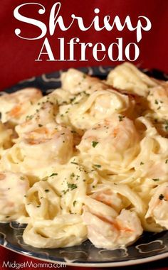 This Shrimp Alfredo is a family favorite in our house, seriously the kids ask me to make it just about every single week, they never get sick of it! This shrimp alfredo pasta is made with a copy cat Olive Garden Alfredo sauce that is amazing and tastes ju Pastas Recipes, Sauce Recipes, Fish Recipes, Seafood Recipes, Cooking Recipes, Healthy Recipes, Shrimp Recipes Easy, Restaurant Recipes, Chicken Recipes