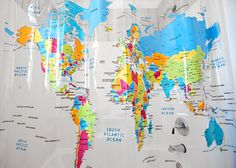 World Map Shower Curtain - $22.95, http://www.amazon.com/gp/product/B001C4CK4C/ref=as_li_ss_tl?ie=UTF8=1789=390957=B001C4CK4C=as2=icanbecreativ-20