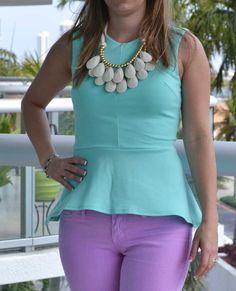 Trendy Clothing, Fashion Shoes, Women Accessories | Janisa Mint Peplum Top | LoveShoppingMiami.com on Wanelo