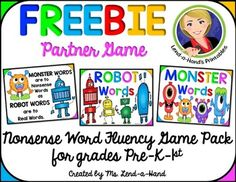 Nonsense Word Fluency. Help students improve CVC phonics skills by classifying words as either real or nonsense.This is a great Nonsense Words Activity that may be played independently or with a partner.  Its a wonderfully simple game that is virtually prep free for the teacher, but it is also fun, easy and enhances both phonemic awareness and phonics skills.