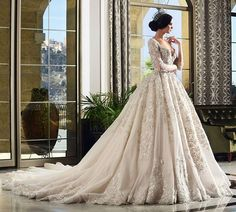 This full-skirted #gown by Beirut-based designer Rami Salamoun is truly fit for…