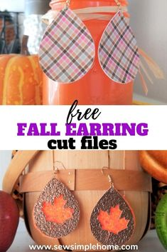 Make your own festive fall faux leather earrings with these Cricut cut files. Fall Crafts, Halloween Crafts, Diy Leather Earrings, Leaf Shapes, My Favorite Part, Svg Cuts, Etsy Jewelry, Cutting Files, Make Your Own