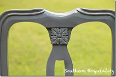 Add details to old chairs by adding medallion and spray painting for quick update!