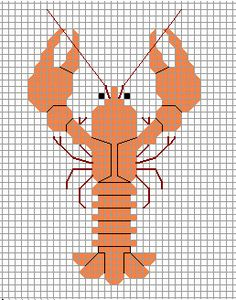 Crayfish xstitch pattern by crawdadEmily on DeviantArt Cross Stitch For Kids, Cross Stitch Animals, Cross Stitch Charts, Cross Stitch Patterns, Cross Stitching, Cross Stitch Embroidery, Embroidery Patterns, Needlepoint Designs, Needlework