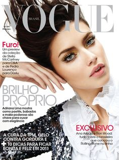 Victoria's Secret model Adriana Lima covers the February 2011 issue of Vogue Brazil looking natural and poised. The simple cover features the model dressed in a sequin embellished jacket and a crisp white frill shirt. Her makeup is noticeable without being over the top - Adriana looks more natural and toned-down than usual, which in turn seems to flatter her and make her look more glamorous and effortless.