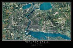Niagara Falls New York - Ontario From Space Satellite Art Poster