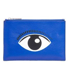 Embroidered Eye Leather Pouch
