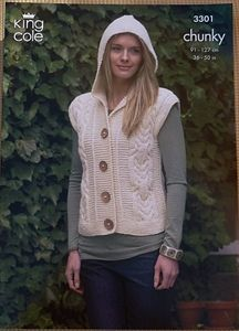 knitting pattern -  Ladies Hooded Jerkin Chunky