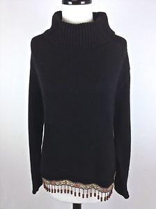 Boston Proper Sweater Black Cotton Beaded Long Sleeve Tunic Turtleneck Womens M | eBay