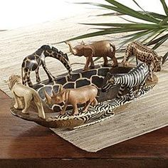Wood Serving Trays, Decorative Bowls, Safari Home Decor-I could make one of these with a nice decor bowl, plastic safari animals painted with a rubbed oil bronze spray paint and glue.-For the bedroom.