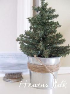 """Small tree in galvanized bucket with twine--for if I ever wanted to do the country Christmas thing instead of my current """"kitschy Christmas."""" by angela"""