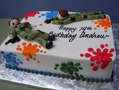 paintball cake for paintball party Paintball Birthday Party, Ball Birthday Parties, Bolo Paintball, Gun Cakes, Birthday Cake Pictures, Birthday Ideas, Laser Tag Party, Happy Birthday Cakes, 13th Birthday