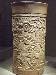 Molded and carved vessel Central Maya Area Mexico or Guatemala 9th century CE earthenware
