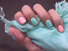 Turquoise & pink nail art with patterns :: one1lady.com :: #nail #nails #nailart #manicure
