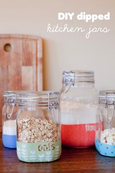 DIY: dipped kitchen jars decor, dip kitchen, creativ, crafti, kitchen jars, hous, diy dip, dip jar, apart