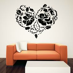 wall art | Rose and Thorns Heart Floral Wall Art Sticker Wall Decal Transfers ...