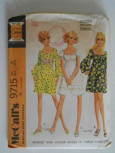 Vintage 60s High Waist Peasant Dress Pattern by lisaanne1960
