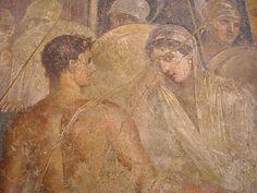 "HOMER: ""Iliad"" (8th century BC) - ""Achilles give Briseides to Agamennon"" - from Pompeii, House of ""Poeta Tragico"" - Naples, Archaeological Museum"