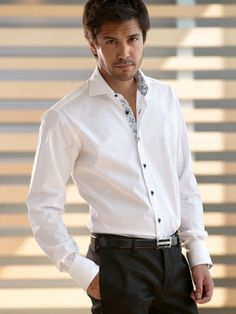 ETRUSCA Shirts Menswear Men's Shirts Made in Italy White Circle