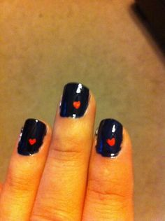 OPI Russian Navy with Sally Hansen red nail art pen hearts